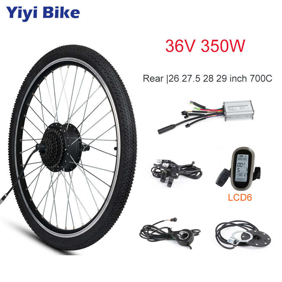Elektrische E Bike Conversion Kit 48V Hinten Motor Rad 27,5 26 28 29 zoll 700C Rad Motor 350W bürstenlosen Getriebe Motor Motor KT LCD6