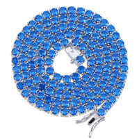 1 Row 4mm Round Cut Iced Out Red Blue Zirconia Tennis Chain Hiphop Gold Silver Color Plated Necklace 18 22 Inch