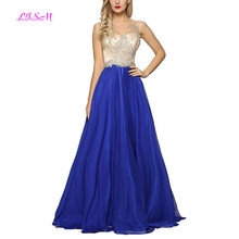 Crystals Beaded A-Line Prom Dresses Royal Blue Chiffon Evening Gowns Sheer Back Zipper Real Photos Long Formal Party