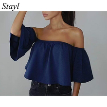 Hot 2017 Women Blouses Chiffon Slash Neck Flare Sleeve Sexy Strapless Tube Top Blouse Shirts Solid Color Casual Streetwear S-XXL