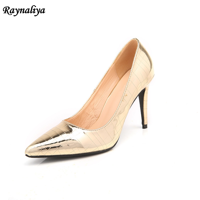 Big Size 2018 New Autumn Classic Women Pumps Fashion High Heel Gold Red Office Wedding Casual Pointed Toe Shoes  XZL-A0020