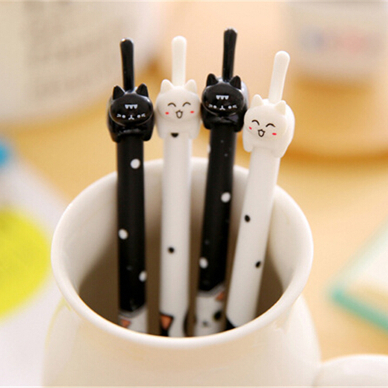 36 pcs/lot Cute Cat  Gel Pen Novelty Cartoon Animal Kitty Pens Black Ink Stationery School&office Supplies Wholesale 1pc lot cute rabbit design memo pad office accessories memos sticky notes school stationery post it supplies tt 2766