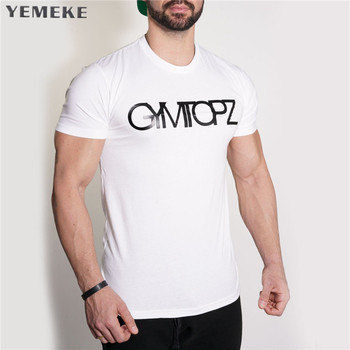 YEMEKE 2018 Men's T-shirt Casual Tees Bodybuilding Fashion Brand Clothing Man Fitted Workout Compression Shirts for Men