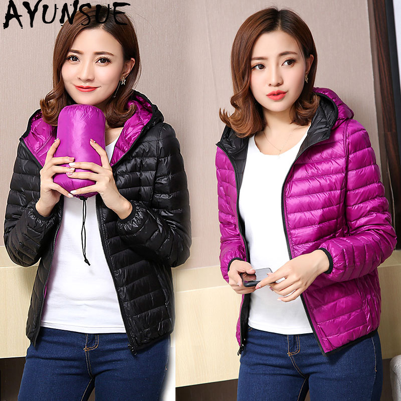 AYUNSUE Women's Jackets Ultra Light Down Jacket Women 2019 New Autumn Winter Coat Jackets For Women Two Side female jacket KJ530