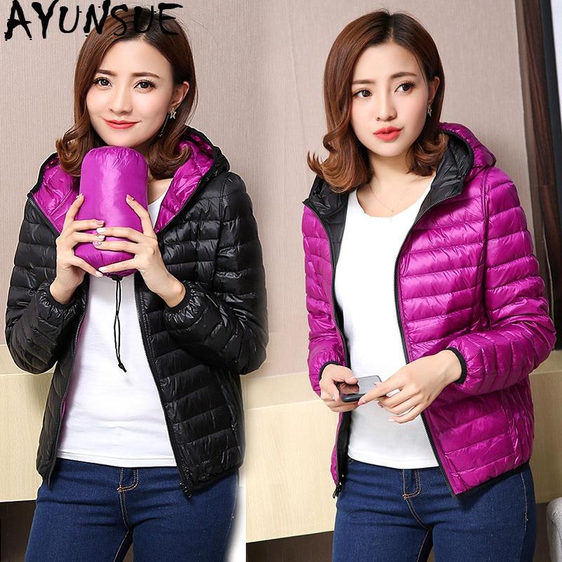 AYUNSUE Women's Jackets Ultra Light Down Jacket Women 2020 New Autumn Winter Coat Jackets For Women Two Side Female Jacket KJ530