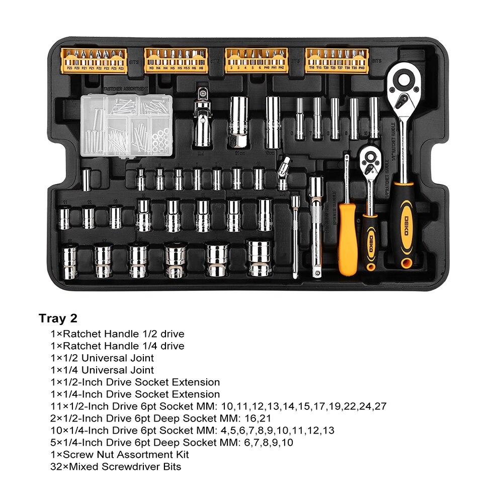 DEKO 255 Pcs Werkzeug Set mit Roll Werkzeug Box Metrische Steckschlüssel Hand Tool Kit Lagerung Fall Steckschlüssel Schraubendreher messer - 3