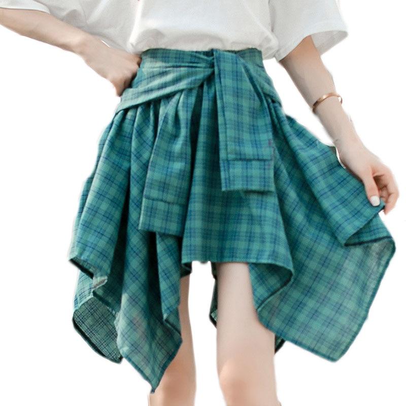 New Summer Women Plaid Irregular Skirt Asymmetrical Casual Clothes Fashion High Quality Short Clothing