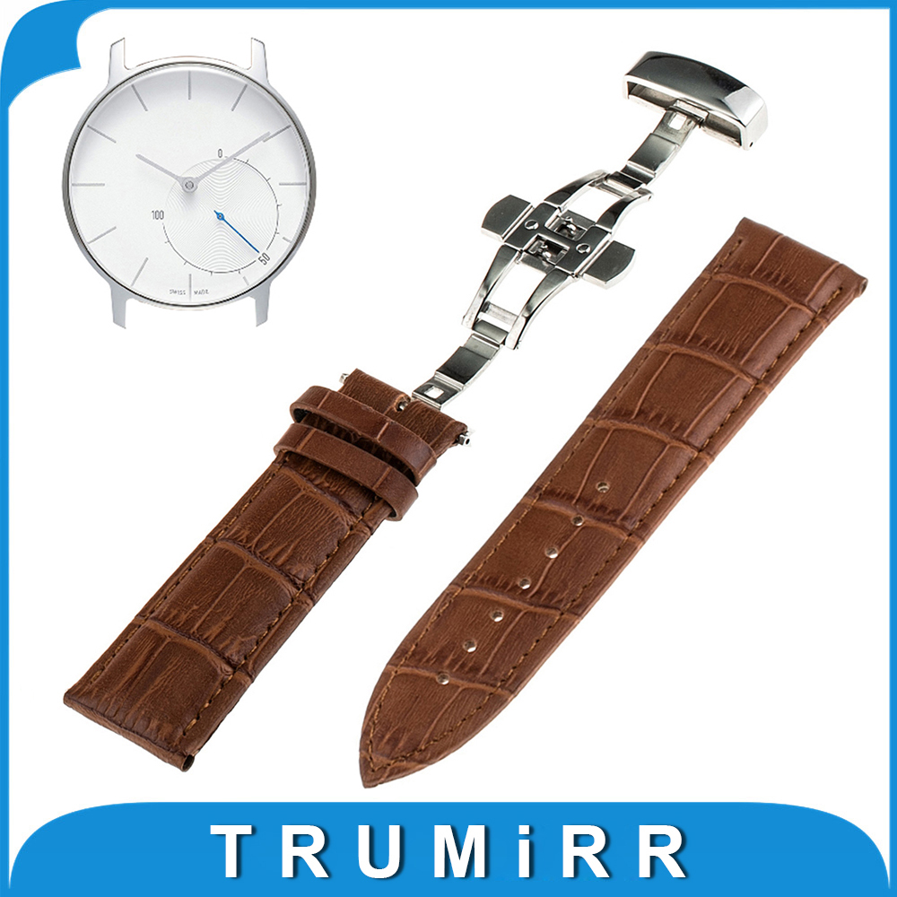 18mm Butterfly Buckle Band Genuine Leather for Withings Activite / Steel / Pop Smart Watch Strap Stainless Steel Clasp Bracelet
