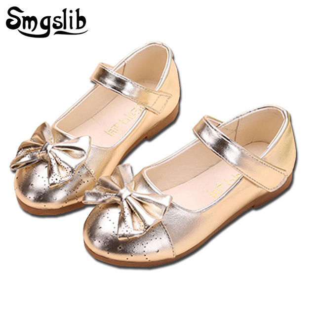 Smgslib Girls Dress Shoes Bowtie Princess Party Toddler Girls Leather Shoes  Kids Dance Gold Pink Black School Shoes For Girls dc3e9d551fbf