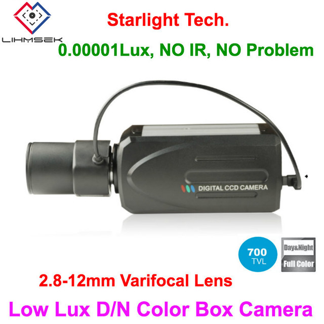 """Lihmsek with 2.8-12mm Lens 1/3""""Sony CCD 700TVL, EFFIO-E Super Low light Box Camera, Color iamge Day/Night, 0.00001 lux, Full OSD"""