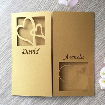 35pcs Laser Cut Heart Pattern Wedding Initations Cards Event&Party Supplies Greeting Blessing Card
