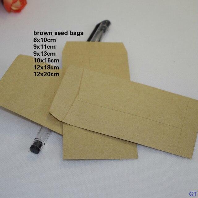 7e8ad56b4 6x10/9x13/10x16/12x20 cm bolsas de papel kraft bolsas de semillas marrones