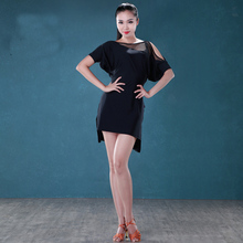 Sexy fashion short-sleeve cutout patchwork Irregular Latin Dance one-piece dress for women/female,Ballroom tango Costumes L17617