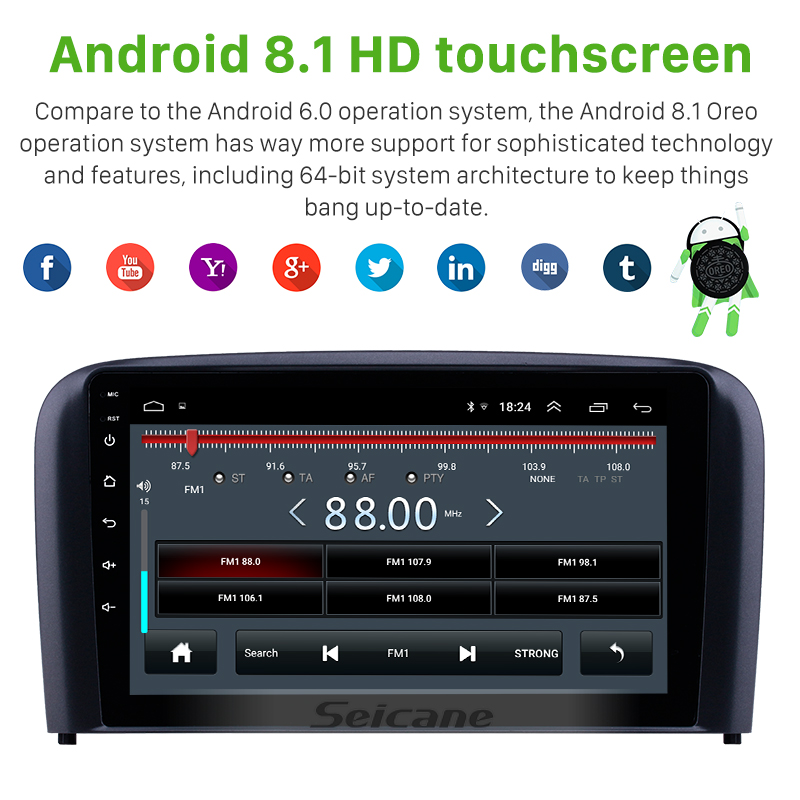 "Clearance Seicane 9"" Android 8.1 Car GPS Radio for 2004 2005 2006 Volvo S80 AUX support Carplay DVR OBD Digital TV Car Multimedia player 2"