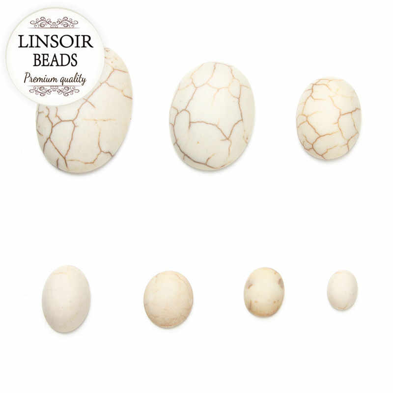 10 pcs סגלגל FlatBack לבן טורקיז קרושון חרוזים 6x8/10x8/10x12/ 11x15/13x18/18x25mm טבעי אבן חרוזים להכנת תכשיטים