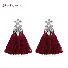 STRATHSPEY Boho Handmade Crystal Tassel Earrings For Women Vintage Flower Black Fringe Drop Earring Statement Jewelry Wholesale