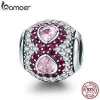 BAMOER Genuine 925 Sterling Silver Heart Clear CZ Pink Crystal Charm Fit Women Charm Bracelet Jewelry