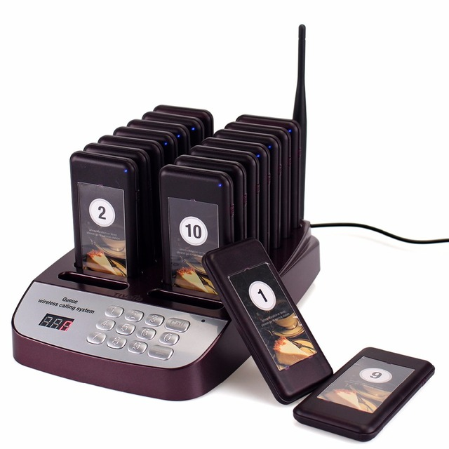 999 Channel Restaurant Pager Wireless Paging Queuing System Guest Pager 16 Call Coaster Pagers Restaurant Equipments F9403D