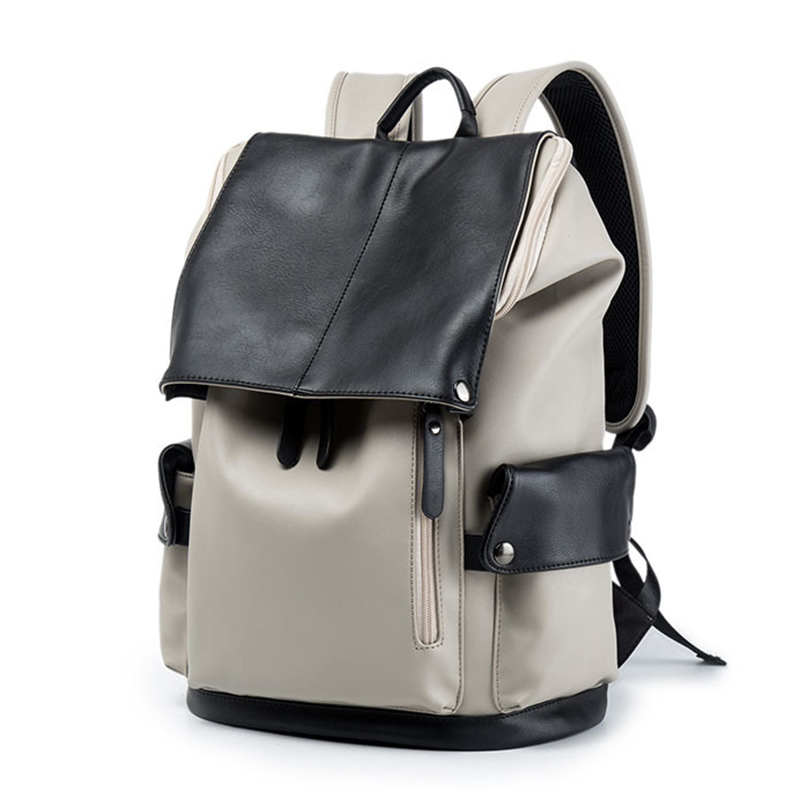 Preppy Style Laptop Backpack for Man PU Leather Backpacks Computer Leisure Youth Travel Rucks Teenagers Schoolbag College