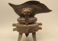 """12 """"China Chinese Dynasty Palace Bronze kaiser 3 Beine Dragon Head Wein Tasse Goble-in Statuen & Skulpturen aus Heim und Garten bei"""