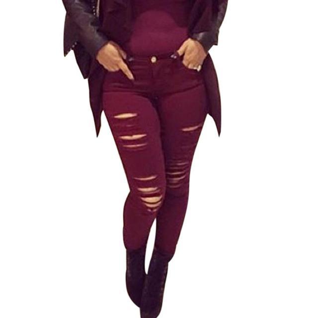 New Designer Denim Women 2016 High Waist Ripped Jeans for Women Skinny Wine Red Jeans Woman Elastic Slim Jean Female Femme 25