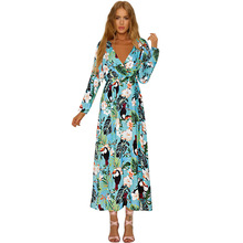 Women Sexy Deep V Neck Long Sleeve Beach Dress Vintage Print Maxi Slim Cover Up Dress Beach Tunic Plus Size Dress Robe de Plage women floral print bohemian maxi dress gypsy wrap maxi dress vintage puff sleeve blossom boho maxi dress spell dress