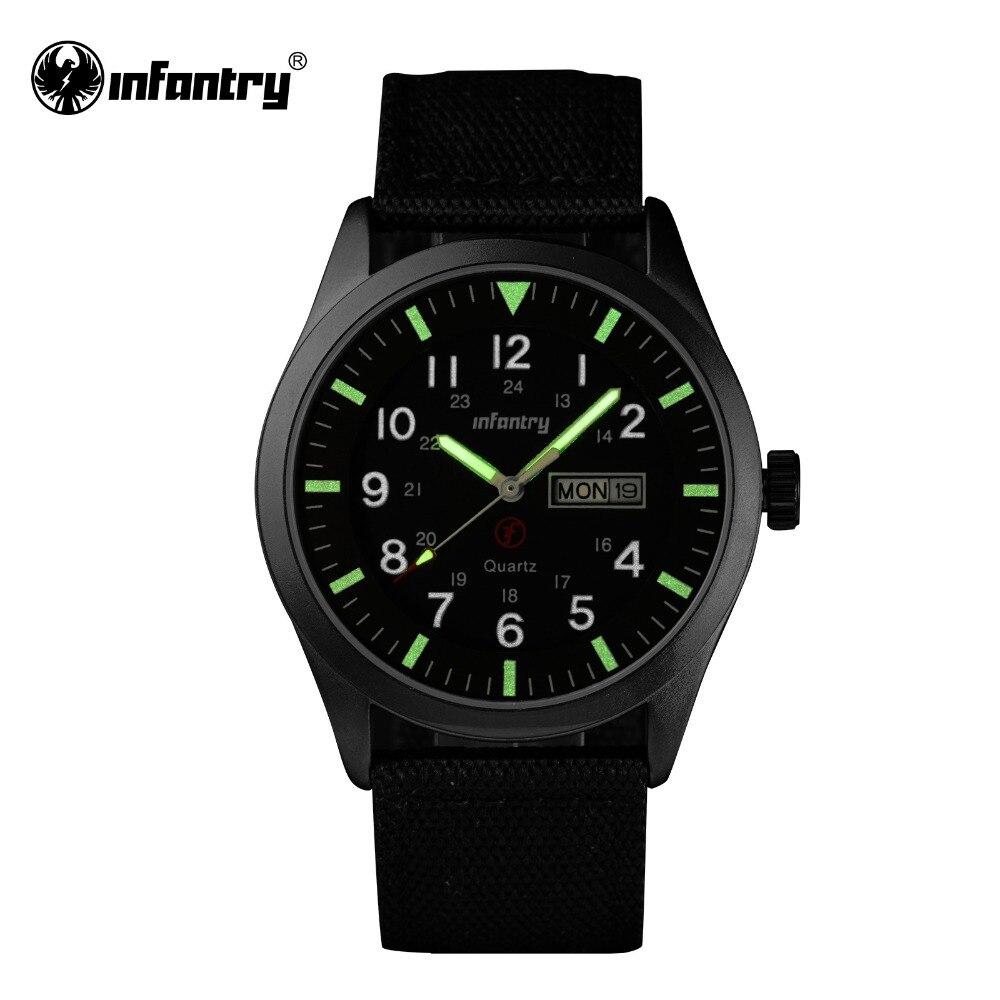 Prix pour INFANTRY Mens Montres Relojes Hombre Montres Lumineuses 2017 Nouvelle Date Jour Police Noir G10 Nylon Bracelet En Tissu de Quartz Montres