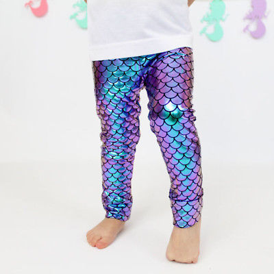 2017 Newly Kid Baby Girl Skinny Fish Scale Leggings Pencil Pants Trousers Size 0-5T