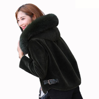 Real Fur Coat Fox Fur Collar Wool Coat Hooded Sheep Shearing Fur 2019 Fur Winter Coat Women Tops Short Korean Black Jacket ZT234