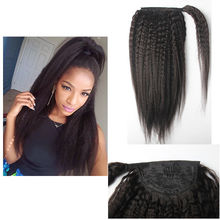 Kinky Straight Hair Ponytail Hair piece Wrap Around Clip In on Ponytails Hair Extensions 12-26″ Brazilian Virgin hair Pony Tail