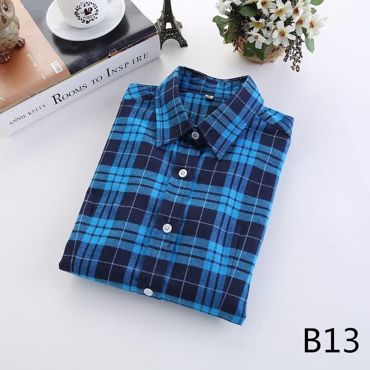 2018 Fashion Plaid Shirt Female College Style Women's Blouses Long Sleeve Flannel Shirt Plus Size Casual Blouses Shirts M-5XL 26