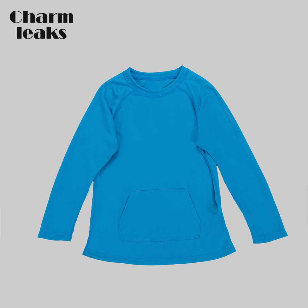 Charmleaks Anak-anak Dry-Fit Kemeja Anak Laki-laki Lengan Panjang Ruam Penjaga Top Olahraga Baju Renang UPF 50 + K Berlaku Kolam Kemeja baju Renang