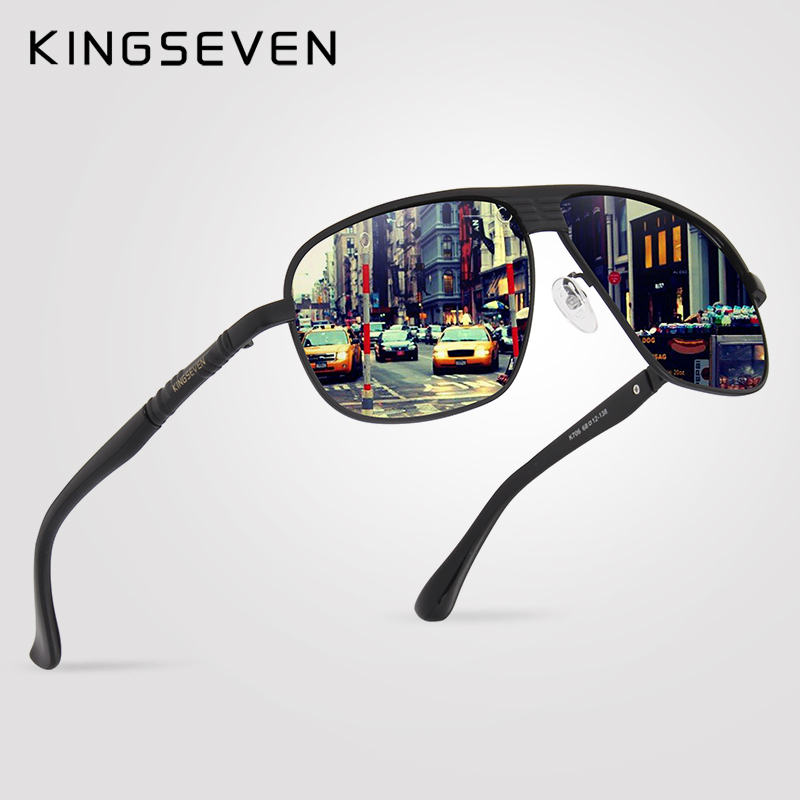 KINGSEVEN Aluminum Brand Classic Retro Polarized Sunglasses Men  Coating Black Driving Sun Glasses Square Eyewear Male Goggles