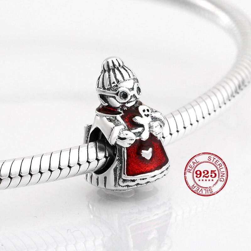 925 Sterling Silver Christmas Grandmother Red Enamel Fit European Charm Bracelet