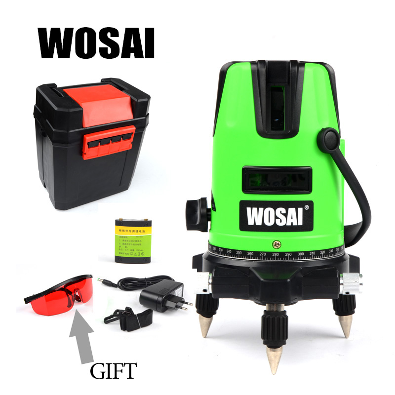 WOSAI Red Laser Level 5 Lines 6 Points 360 Degrees Rotary Outdoor 635nm Corss Line Lazer Level Points Level Tilt Function xeast xe 50r new arrival 5 lines 6 points laser level 360 rotary cross lazer line leveling with tilt function