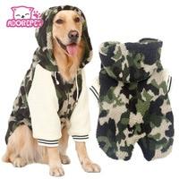 Winter Warm Fleece Big Large Dog Coat Jacket Camouflage Dog Puppy Hoodie Pajamas Clothing Golden Retriever