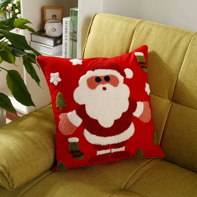 Embroidered Santa Claus Snowman Snowflakes Cushion Covers Merry Christmas Embroidery Pillow Cover Sofa Seat Cotton Case In From Home
