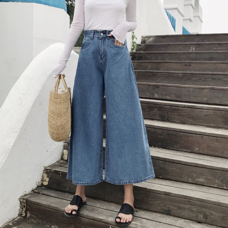 Bottoms Buy Cheap Fashion Pockets Womens Wide Leg Jeans High Waisted Loose Denim Trousers Women 2018 Vintage Korean Hot Pants Buy One Get One Free Jeans