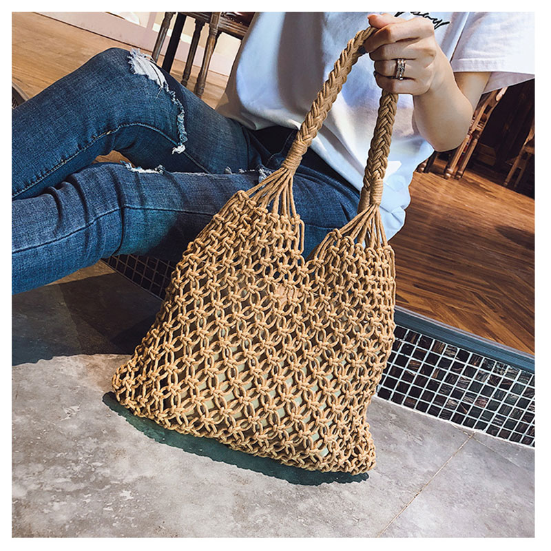 Cotton mesh Shopping bag Mesh Rope Weaving Reticulate Hollow Bag Beach tote bags цена 2017