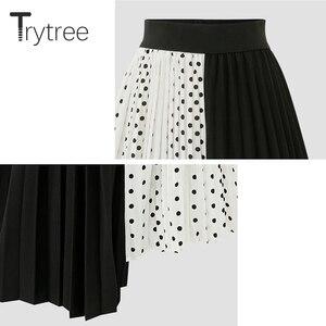 Image 2 - Wypróbuj drzewo lato jesień kobiety Dot spódnica na co dzień poliester szyfon asymetria plisowana spódnica z rozciągliwą talią moda spódnice plus size