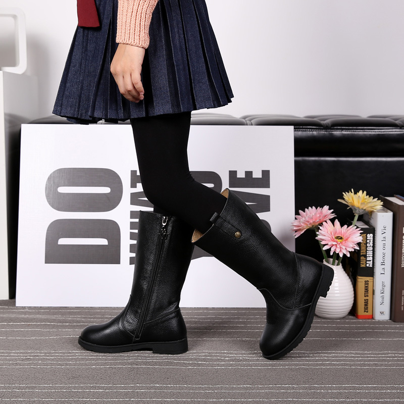 New winter girl s genuine leather boots slipproof waterproof snow boots girls winter warm shoes children