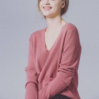 pure goat cashmere kint women simple fashion big V-neck short pullover sweater solid color S/M/L/XL retail wholesale