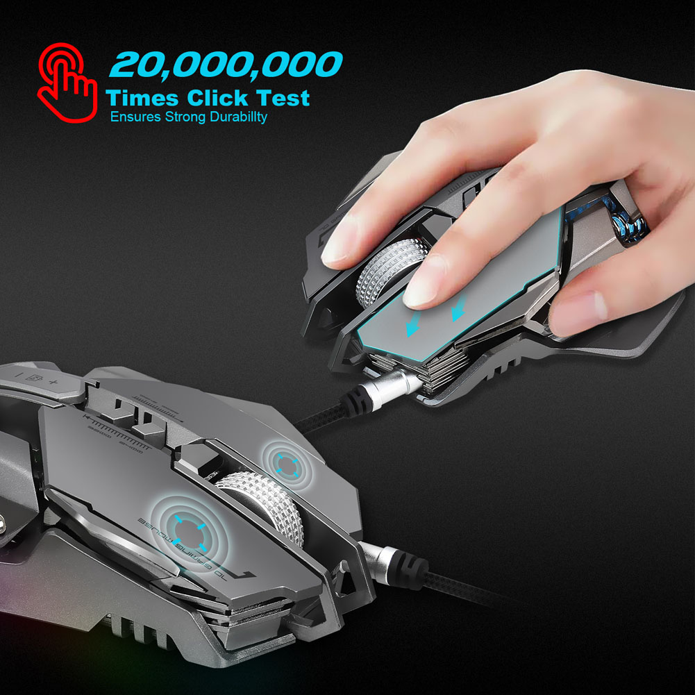 Mechanical Gaming Mouse USB Wired 7 Buttons 4000DPI LED Backlight Optical Computer Mice for Gamer 8 SL@88