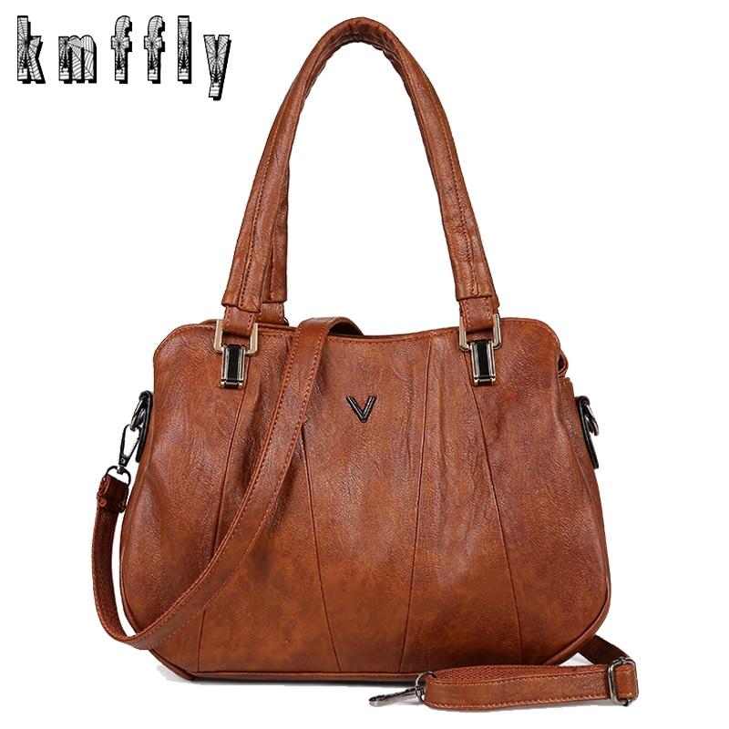 Women Handbags Tote Messenger-Bags Pocket Retro Female Luxury Leather Casual Lady Fashion
