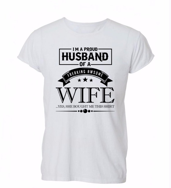 4e70346069 Summer 2019 100% Cotton Fitness Clothing Male Crossfit Tops I'M A Proud  Husband Of And Awesome Wife Funny Ladies Tee Shirt