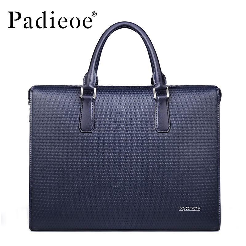 Padieoe Men's Genuine Leather Briefcase Real Cow Leather Handbag Business Tote Laptop Bag Men's Travel Shoulder Bag For Male