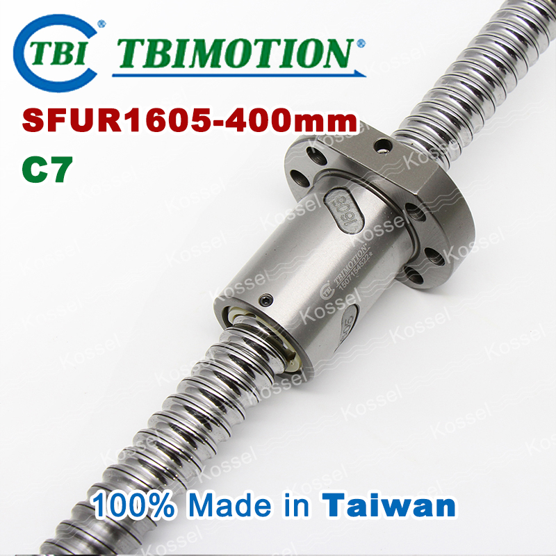 TBI 1605 C7 400mm ball screw 5mm lead with SFU1605 ballnut of BK12 BF12 set end machined for high stability CNC z axis diy kit tbi 1605 c3 400mm ball screw 5mm lead with sfu1605 ballnut ground for high precision cnc diy kit of taiwan