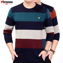 Autumn&Winter New Men's Plus Velvet Thick Full Pullovers O-neck Striped Business Casual Appliques Warm Sweater