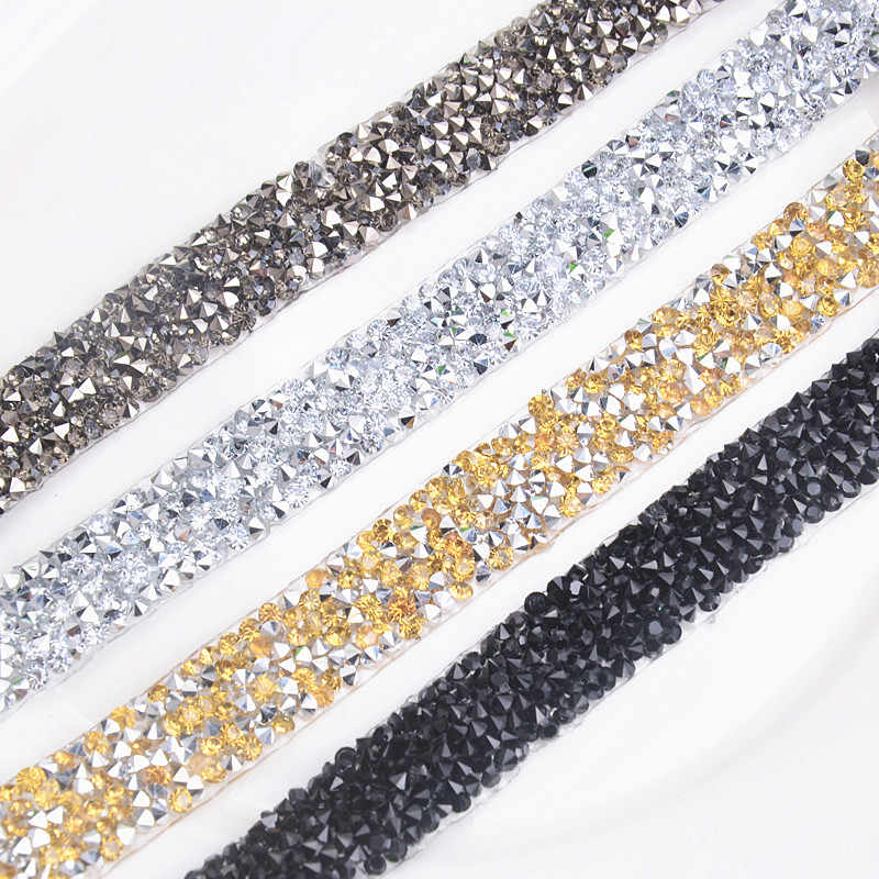 Factory direct sales 2 yards rhinestone 15mm width black crystal decorative mesh  chain crystal crystal wedding b1467317865d