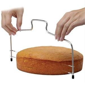 Image 1 - 10 inç kek dilimleme bıçağı DIY paslanmaz çelik çift hat ayarlanabilir tereyağı tereyağı ekmek kek kesici ev mutfak pişirme araçları